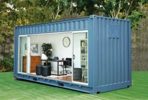 Shipping container office backyard